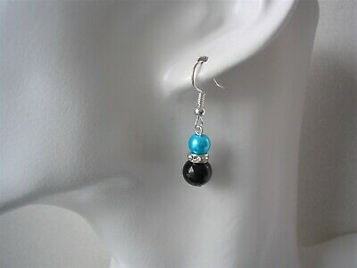 Coloured Pearl and Diamante Dangle Drop Earrings for Women Girls Bridesmaids 57S
