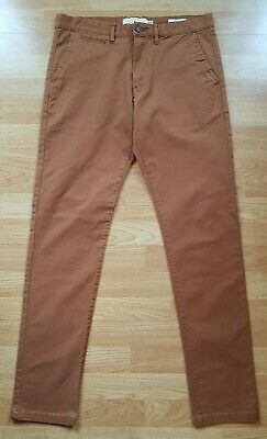 Men's H&M Skinny Fit Stretch Chino Trousers, Brown, Size W32 L32