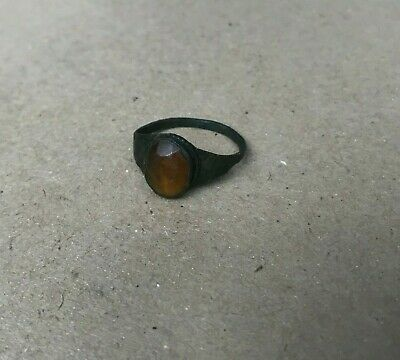 Ancient Viking Bronze Ring with Stone. Kievan Rus 9th-11th Century AD