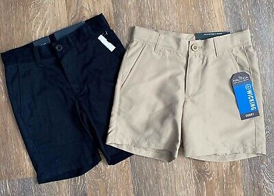 Boys IZOD $28 Navy or Khaki Uniform//Casual Flat Ft Adj Waist Shorts Size 8-18