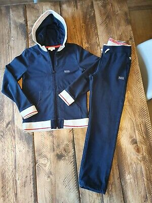 Boys Genuine Designer HUGO BOSS Navy Blue Tracksuit Jacket Age 10 Outfit
