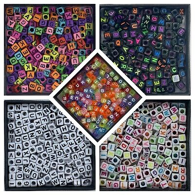 200 Acrylic Alphabet Beads - Square  6mm x 6mm