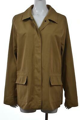 Dennis Basso Womens Jacket Size L Camel Beige Solid Softshell Long Sleeve Cotton