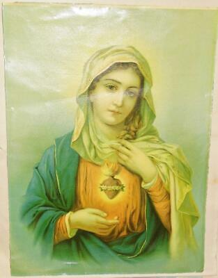 Antique Immaculate Heart of Virgin Mary Irish Catholic Holy Picture Oil Print