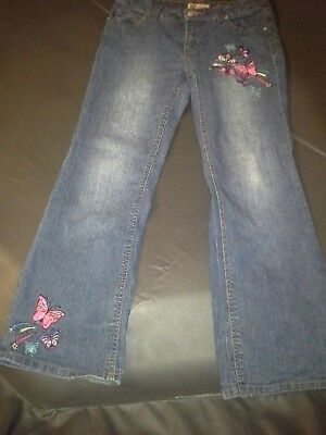 "Faded Glory-Girl's-Stretch-Embroidered-Bootcut-Blue Jeans-Size:12-30""Wx26""L"