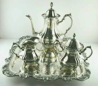 Poole LANCASTER ROSE Sterling Silver Coffee Set + Tray