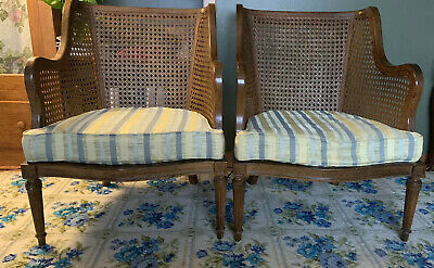 Pair of Vintage Cane Chairs American Of Martinsville MCM OH/PA/WV