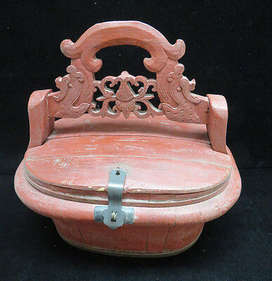 Vintage Chinese Painted Red Wood Dowry / Sewing Box