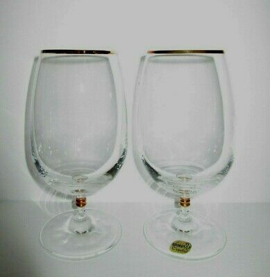 Vintage Pair BOHEMIA CRYSTAL BEER TULIP Goblet GLASSES Double GILT Knob Stems!
