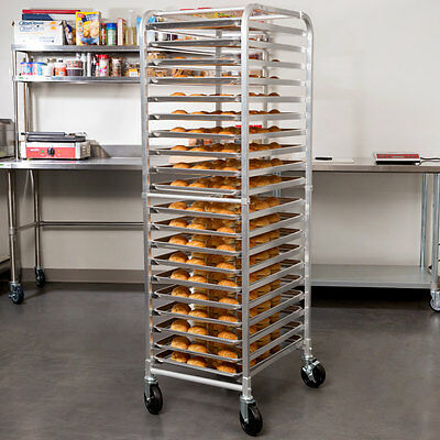 20 Pan Aluminum End Load Restaurant Bakery Bun / Sheet Pan Open Speed Rack