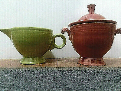 """Original Fiesta Pottery""  Green Creamer and Poppy Sugar Bowl w/Lid - Used"