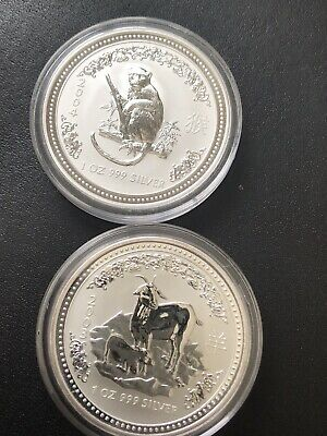 2003 + 2004 Perth Mint Lunar Serie I - Year Of The Goat And Monkey- Mint Conditi