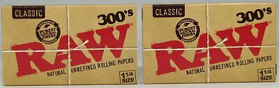 RAW 300's Classic 1 1/4 Natural Unrefined 1.25 Rolling Papers 600 Leaves 2 PACKS