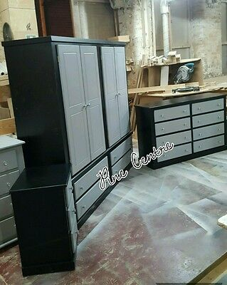 Handmade Gentleman Black And Grey 3 Piece Bedroom Set