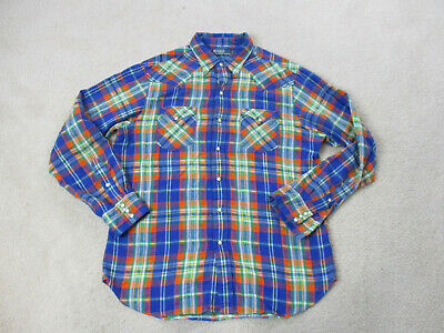 Ralph Lauren Polo Pearl Snap Shirt Adult Large Blue Orange Western Cowboy Mens