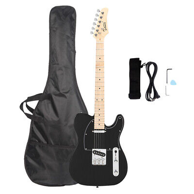 NEW BLACK TELE CASTER STYLE Electric Guitar With GIG BAG+CABLE+STRAP