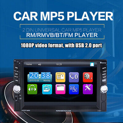 "6.6"" 2DIN Car Radio Stereo Player MP5 Bluetooth AUX USB FM Rearview Camera Image"