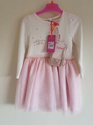 Ted Baker girls' Pink tulle dress and tights set. 4-5 Years.