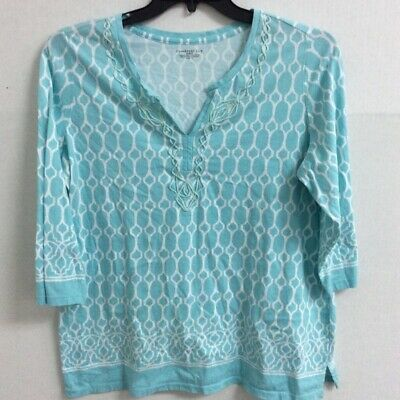 Charter Club Womens Top Blue Abstract 3/4 Sleeve Notch Neck Embroidered Plus 1X