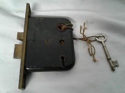 Unbranded  vintage antique mortis 6 with brass deadbolt and key 3 guts only