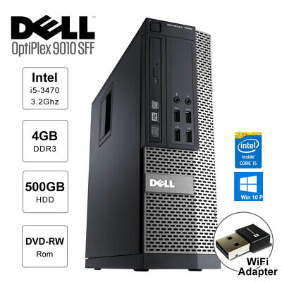 Dell OptiPlex 9010 SFF i5-3470 3.2GHz 4GB 500GB USB WiFi Adapter DVD Win10 Pro
