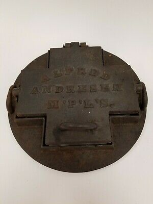 Rare Antique VTG Cast Iron Goro Wafer Mold Press Alfred Andresen Minneapolis, MN