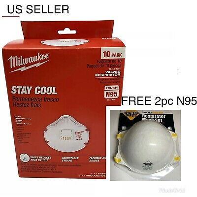 FREE x2 pc N95 Milwaukee NIOSH N95 Valved Respirator 10 Pack Mask Protect Masks