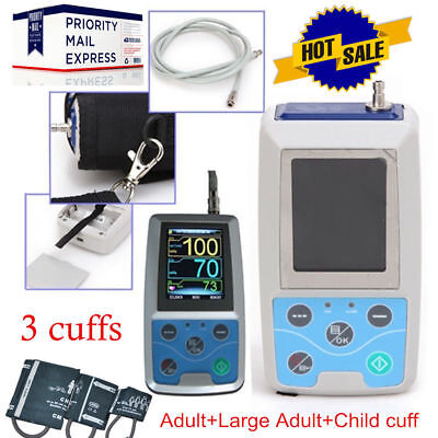 CONTEC Ambulatory Blood Pressure Monitor+Software 24h NIBP Holter ABPM50 3 Cuffs