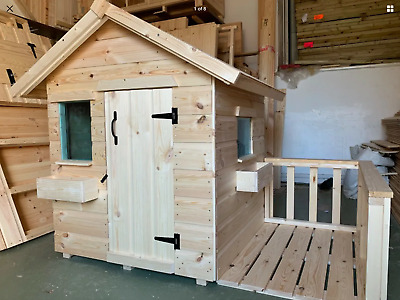 Childrens Wooden Play House Wendy House WithVeranda Suit Small Child TOP QUALITY