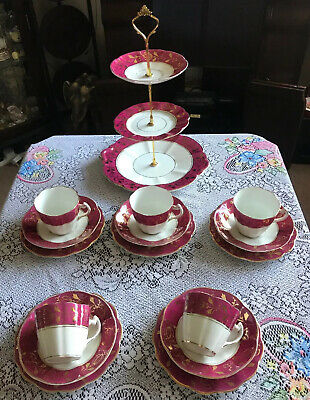 Beautiful Antique/Vintage China Tea Set & 3 Tier Cake Stand Fuchsia Pink