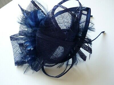 Navy blue fascinator with bow and feathers  headband fitting