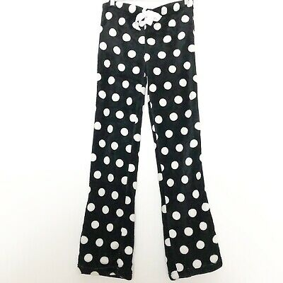 Body Candy Polka Dot Fuzzy Pajama Bottoms Black And White New With Tags Small
