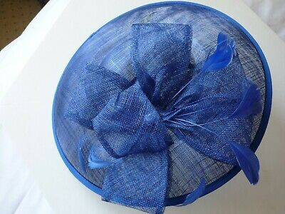 Royal blue fascinator/hat with feathers and stone with headband