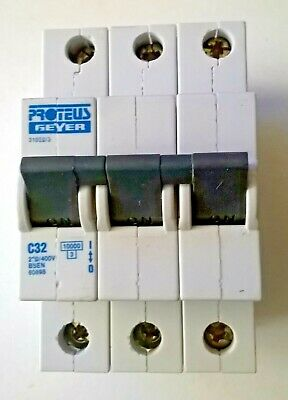 Proteus Geyer 32 Amp Type C 32A Triple Pole 3 Phase 415V Mcb Breaker 31032/3W