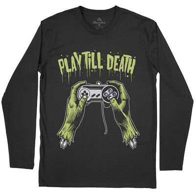 Play Till Death Geek T-Shirt Zombie Dead Arcade Play Video Game Over Club A561LS
