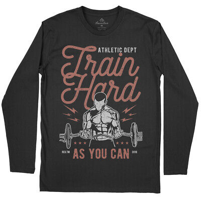Train Hard Gym T-Shirt Work Out Stronger Fitness Movement Crossfit Athlet A778LS