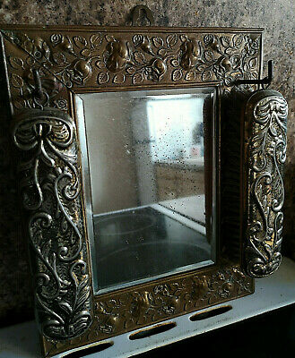 Vintage ARTS & CRAFTS Brass HALL Wall Mirror With Brushes Raised Floral Design