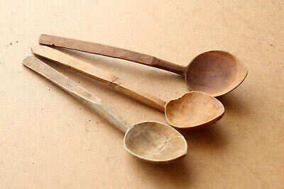 Old Antique Primitive Wooden Wood Spoons Paddles Rustic Early 20th