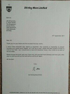 Sir Stirling Moss Signed Typed Letter