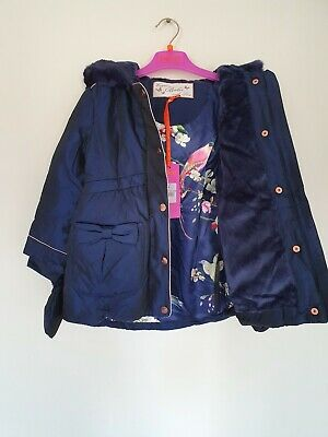 Ted Baker Girls Navy  Padded Coat / Jacket with Mittens. 3-4 Years. Designer