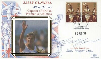 1994 European Games Cover 400m Hurdles SIGNED Sally Gunnell