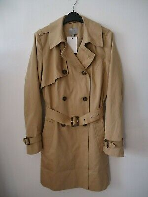 Womens Ladies Double Breasted Button Jacket Belted Buckle Mac Trench Coat Size