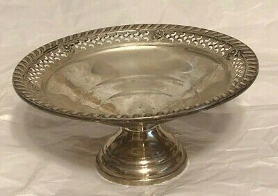 Antique Sterling Compote Rose And Reticulated Rim