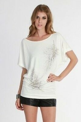 Off Shoulder White Gold Leaf Tunic Length Top in Small or Medium
