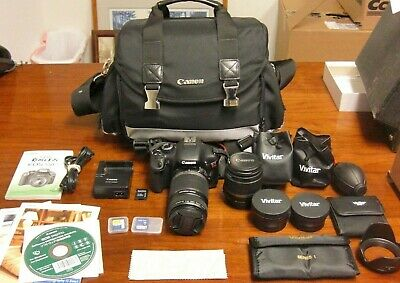 CANON EOS REBEL T2i  W/ Extra Vivitar Lenses & Memory Cards, In Camera Bag.