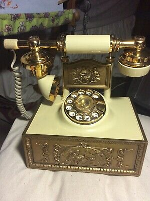 Vintage Ornate French Style Rotary Cradle Phone WORKS!