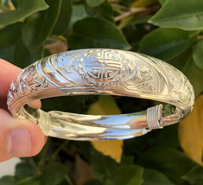 Antique Chinese Export Silver Repousse Shou Symbol Lotus Blossom Bangle Bracelet