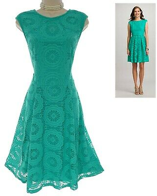 Size 12 SEXY Womens GREEN LACE FIT & FLARE DRESS Spring Summer Wedding Party
