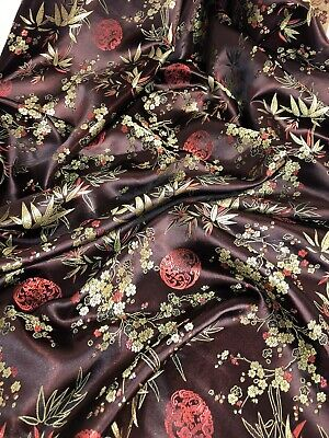 1 mtr silver oriental floral blossom chinese brocade fabric..45 wide