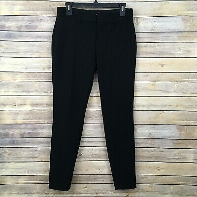 EXPRESS Skinny Mid Rise Dress Pants WOMENS 6 R Black Solid Career Work Stretch